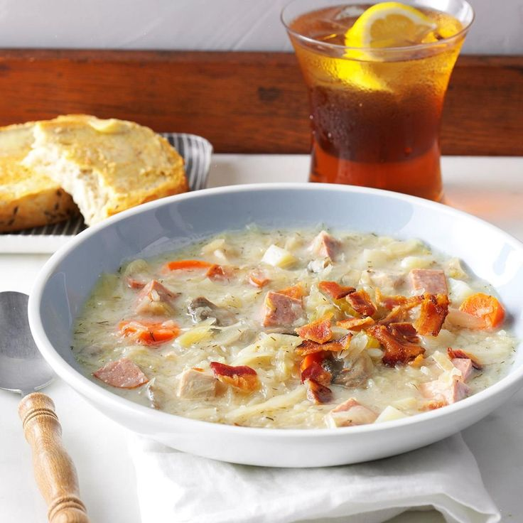 """Slow-Cooked Sauerkraut Soup Recipe -We live in Lancaster County, Pennsylvania, which has a rich heritage of German culture. Dishes that include sauerkraut, potatoes and sausage around here. We enjoy this recipe on cold winter evenings, along with muffins and fruit. The """"mmm's"""" start with the first whiff as the door opens after school or work. —Linda Lohr, Lititz, Pennsylvania"""