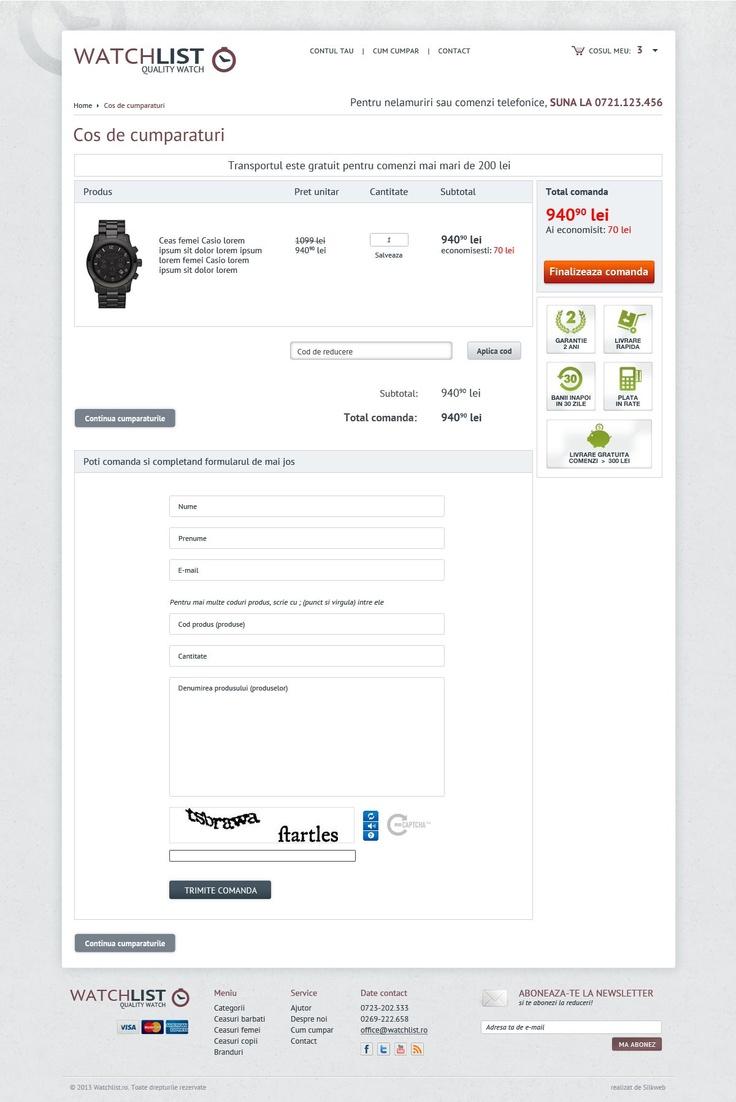Design pagina checkout - magazin online ceasuri