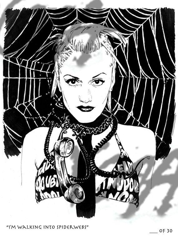 Gwen Stefani I'm Walking Into Spiderwebs  No by KozaGoatWorks, $25.00