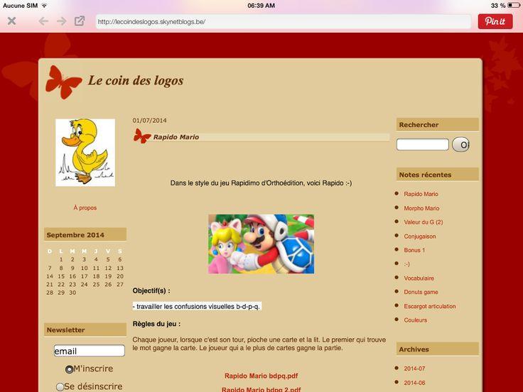 Le coin des logos : du matériel pour orthophonistes ( et logopèdes ;) http://lecoindeslogos.skynetblogs.be