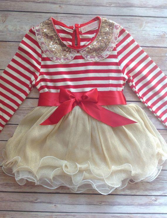 Red Gold Toddler Baby Girl Dress, Birthday Outfit Girl, Baby Girl Toddler Christmas Outfit Dress, Vintage Dress