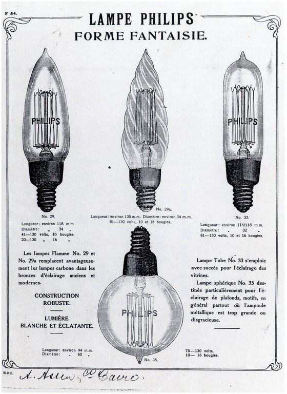 Handel en nijverheid/reclame/Philips reclame Lampe Philips / forme fantaise, met afbeeldingen van vier typen gloeilampen