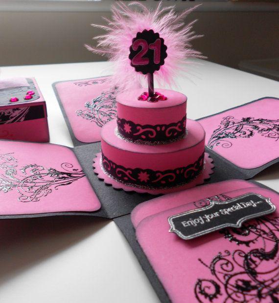 Birthday Cake Exploding Box Card/ Invitation on Etsy, $8.49