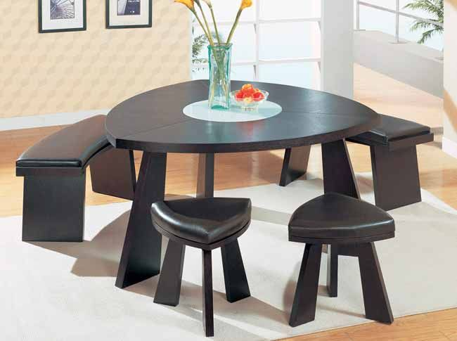 stylish triangular dining table with bench