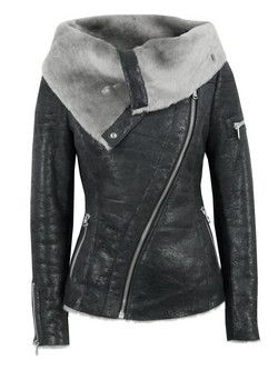 Ash – Arnelle, womens shearling lined cracked black leather biker jacket with a distressed vintage finish. The leather jacket features an asymmetric zip front, draped shearling collar, two pockets, single sleeve zip and zipped cuffs. Other details include ribbed jersey side and sleeve panels and fitted rear with a double zipped rear vent.  - Ash at Coggles.com