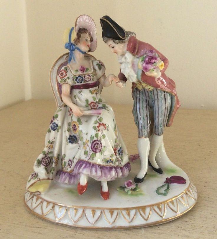 Antique Dresden Potschappel Carl Thieme German Porcelain Figurine, Lady & Gent