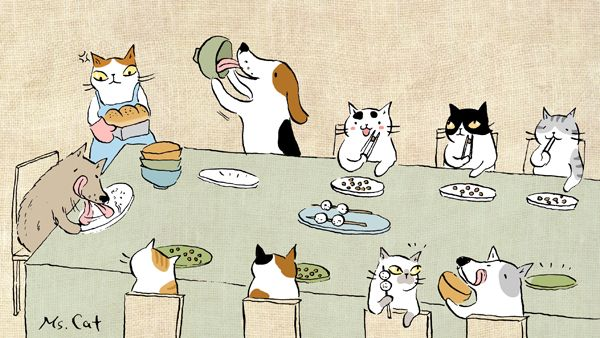 """Cats :""""Hmmm... They don't have a table manner"""""""