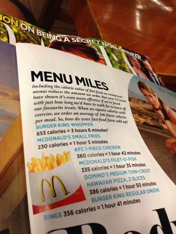 MENU MILES- small McDonald's fries: 230calories = 2hours 5min!