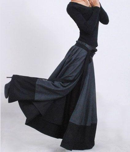 Dark grey wool skirt  wrap skirt maxi skirt patchwork by xiaolizi, $89.00