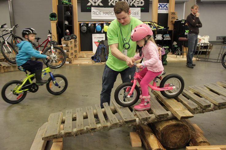 #KidsKrankedZone @Vancouver Bike Show getting kids on #bikes to test out #mountainbiking and #trailbikes. What fun!