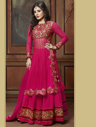 Buy Radhe Arts pink georgette  dress material Online, , LimeRoad