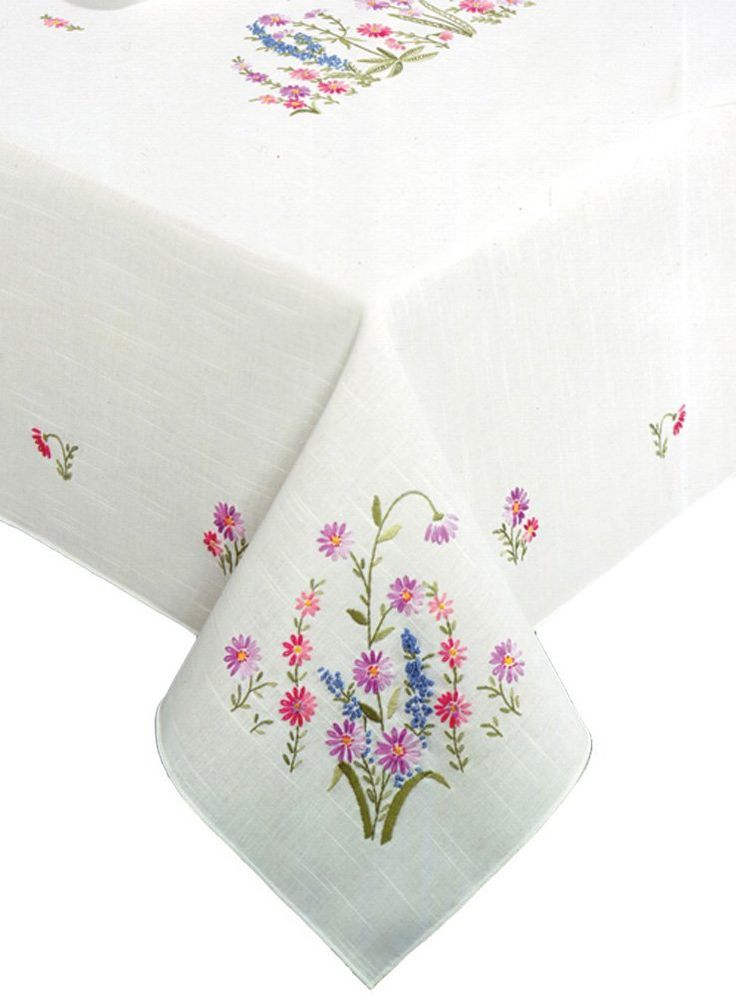 Vintage Pillowcases, Embroidered Pillowcases, Embroidered Flower Basket & Flowers
