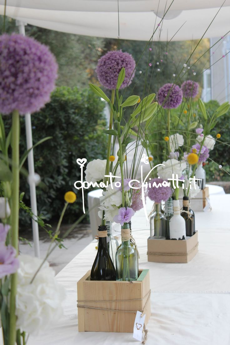 Outdoor Allium with empty wine bottles