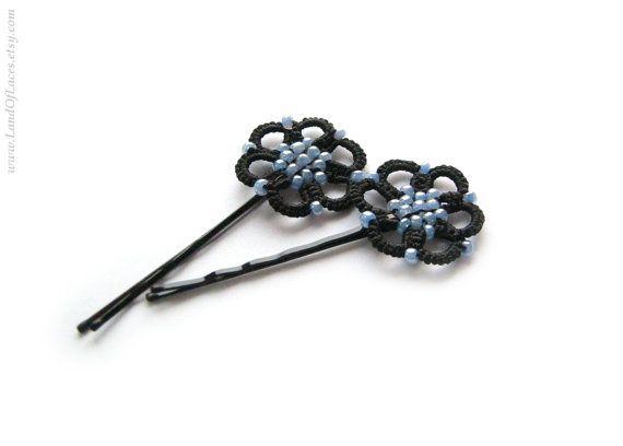 Bígaro y horquillas flor negra Tatted lace por LandOfLaces en Etsy