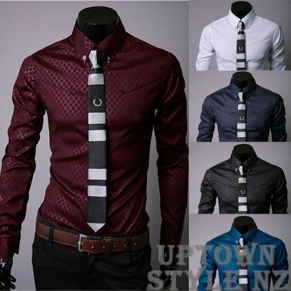 Men's Silk Look Dress Shirt