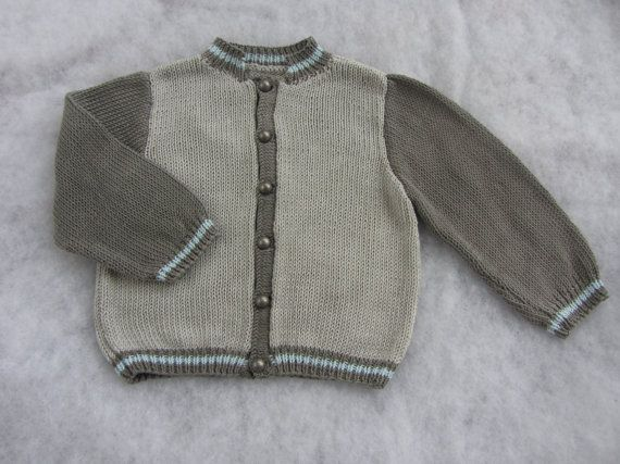 Hand knit pure cotton toddler bomber jacket. Size 2 by KNITLEBITS