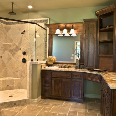 17 best ideas about corner bathroom vanity 2017 on for L shaped master bathroom layout