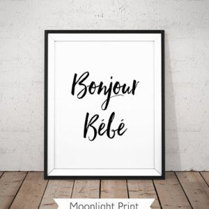 Hello Baby Printable, Bonjour Bébé Poster, Bébé Poster, French Nursery, French Baby, Nursery Typography, Baby Poster, Black White Nursery