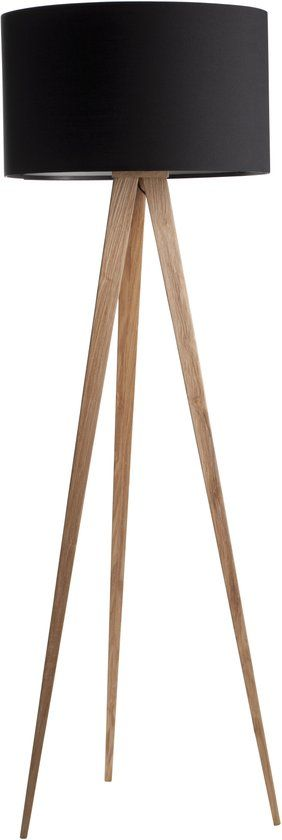 Zuiver Tripod Wood - leeslamp - zwart
