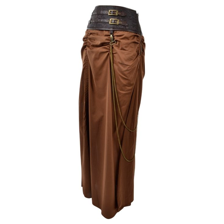 Long Brown Steampunk Skirt