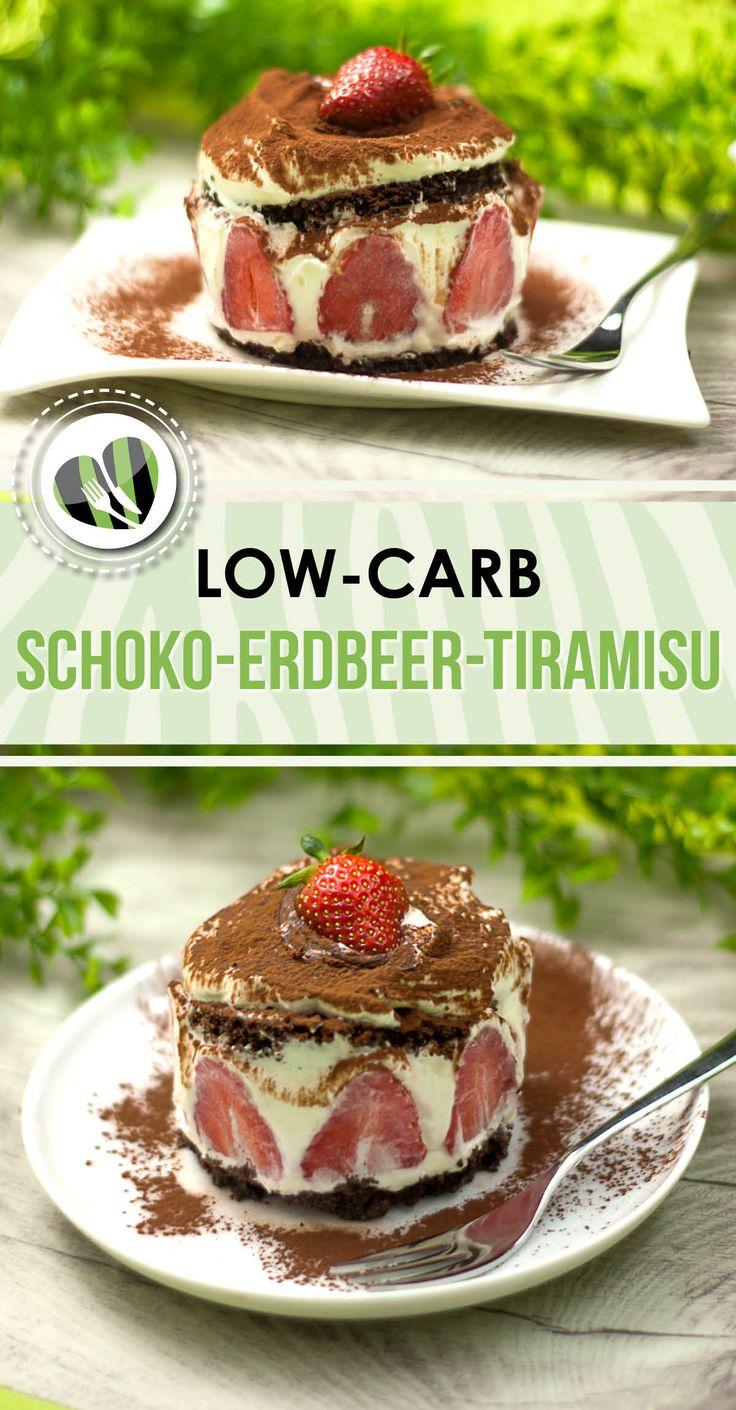 Das Schoko-Erdbeer-Tiramisu ist ein wundervolles Dessert. Es ist low-carb und glutenfrei.