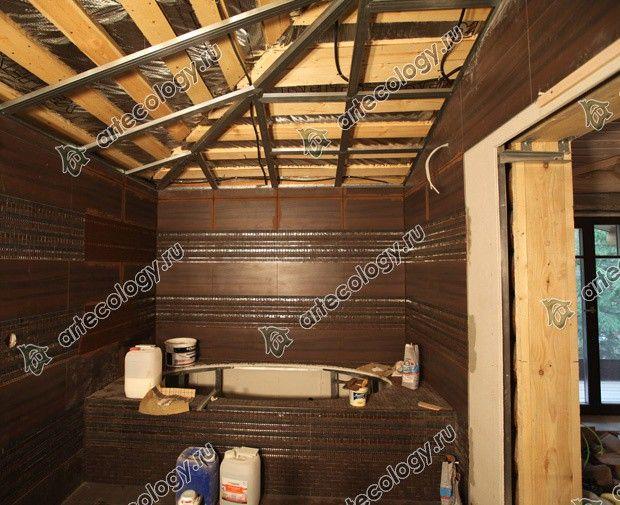 Реконструкция дома из лиственницы 2012 год. Отделка плиткой в деревянном доме.