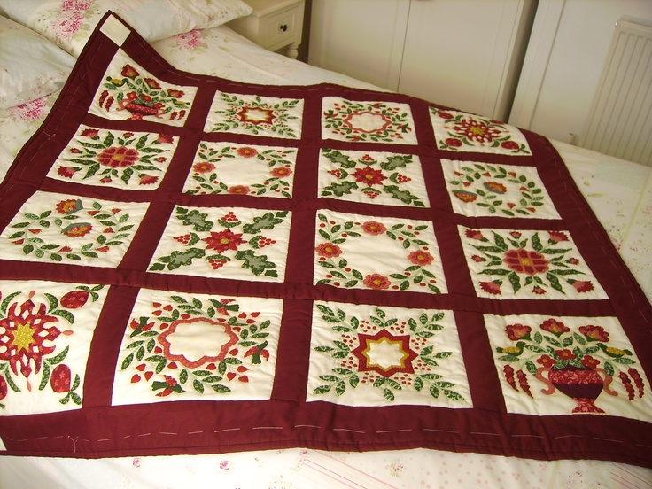 Cheater Fabric Pre Printed Hand Quilted Bed Quilt