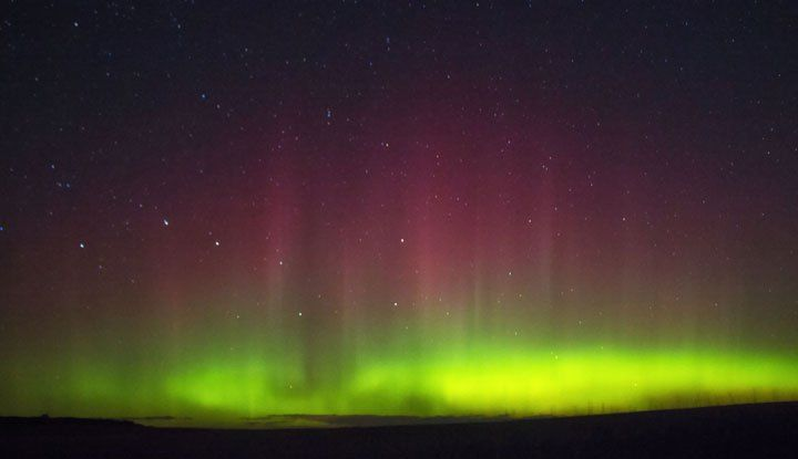 The northern lights, seen hear northeast of Arthur, Ont.