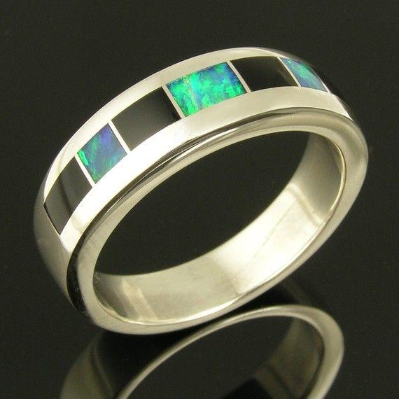 black onyx and australian opal inlaid