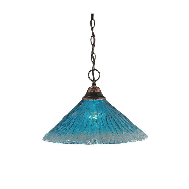 Cambridge 1-Light Copper 10.25 in. Pendant with Teal Crystal