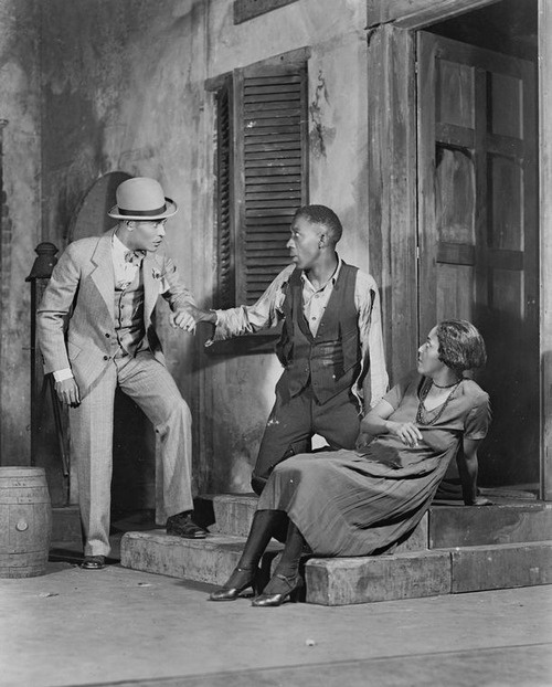 Percy Verwayne (Sporting Life), Frank Wilson (Porgy) & Evelyn Ellis (Bess).  Porgy (Guild Theatre Production, 1927).