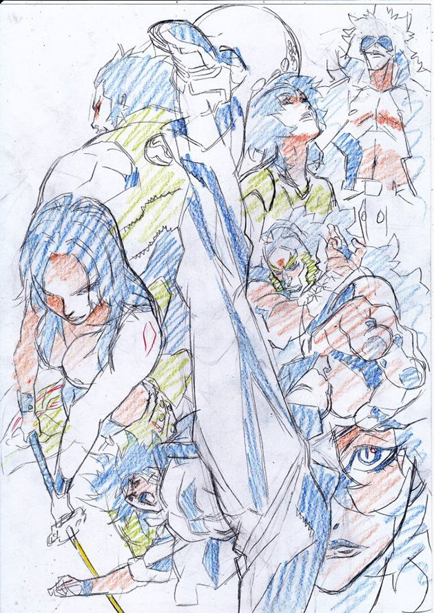 Warm-up sketches by Kim Kidoo (Seoul Sessions), Key Animator for SOL BIONCA: THE LEGACY, MOI Animation studios Director/ Animation Director on Cannon Busters project.