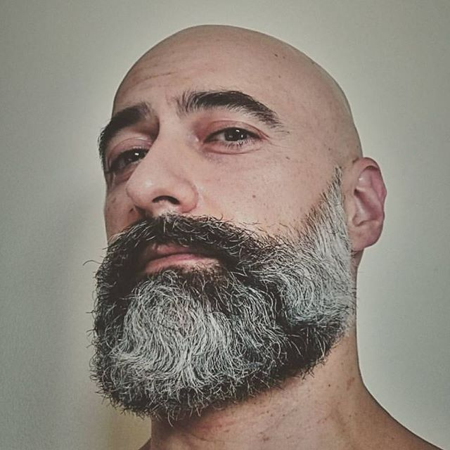 Bald guys are hot but add some facial hair!!! woof