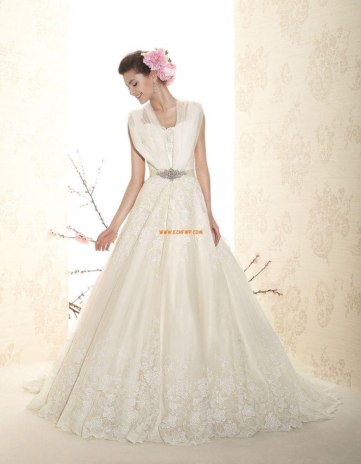 Court Släp Elegant & Lyxig Dragkedja Bröllopsklänningar 2015