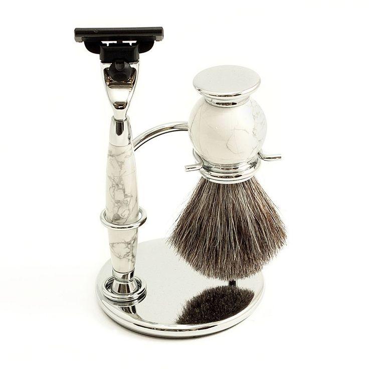 Mach 3 Razor and Badger Brush Shaving Set, White