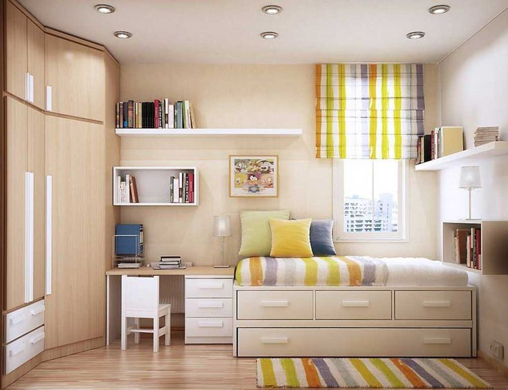 Bedroom Ideas for Small Room with storage bed and colorfull curtain complete with brown theme bedroom picture