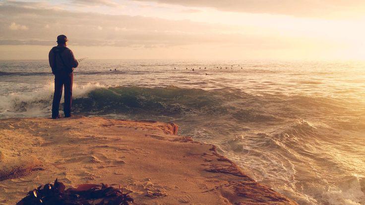 #alone #beach #clouds #coast #ducks #fisher #fisherman #fishing #fishing rod #hobby #man #ocean #people #rod #sand #sea #sky #sun #sunset #waiting #water #waves