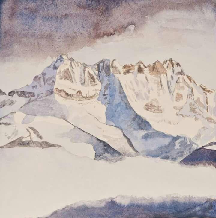 #watercolours #valais #winter #switzerland #mountains  #dentsdumidi www.sandragianesini.com