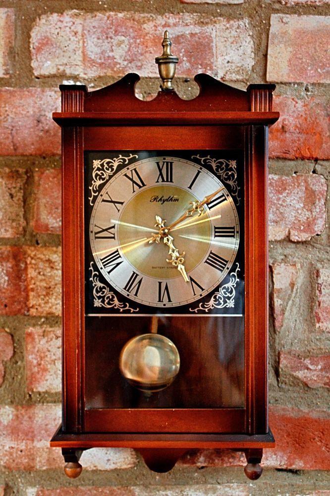 Vintage Wall Battery Strikes Quartz Clock Rhythm Rhytm Clock Quartz Clock Antique Wall Clock