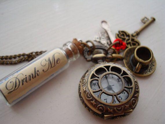 Alice in Wonderland Drink Me Pocket Watch Necklace by BaillieDay