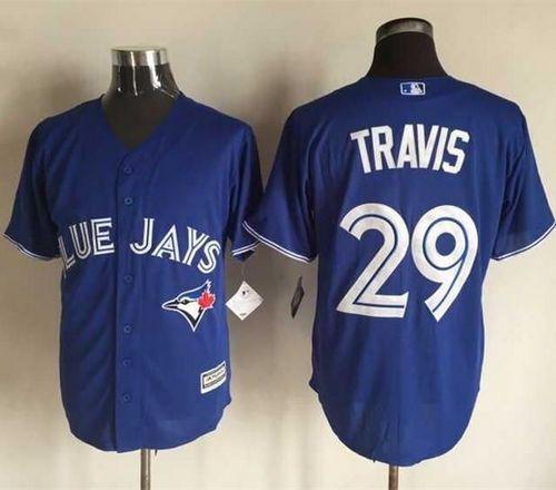 blue jays 29 devon travis blue new cool base stitched mlb jersey