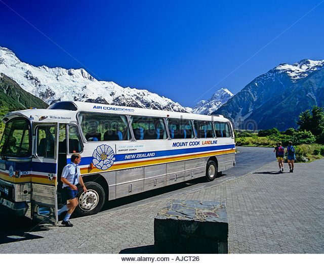 Mount Cook Bus New Zealand | Mount Cook Landline Bus In Front Of Thc Hermitage Hotel Mt Cook Stock ...