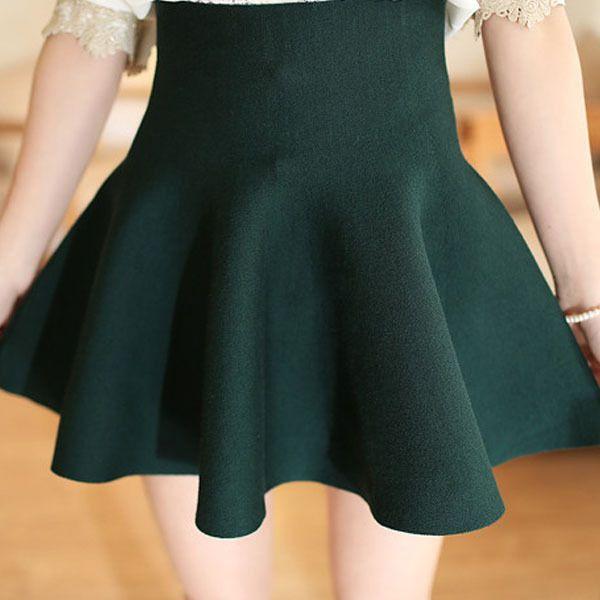 2016 neuer Frühlings-sommer-beiläufige Reizvolle Frauen Mini Rock Hohe Taille Ausgestelltes Plissee Jersey Plain Skater Short Elastic Strickrock