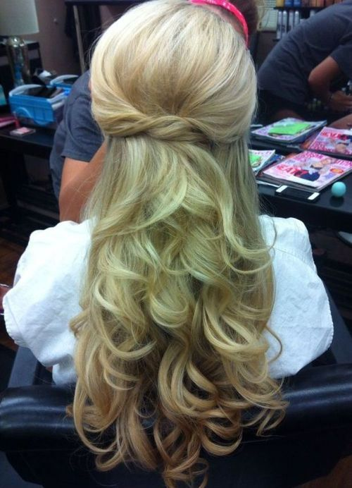 Soft Curled Partial Updo Hairstyle
