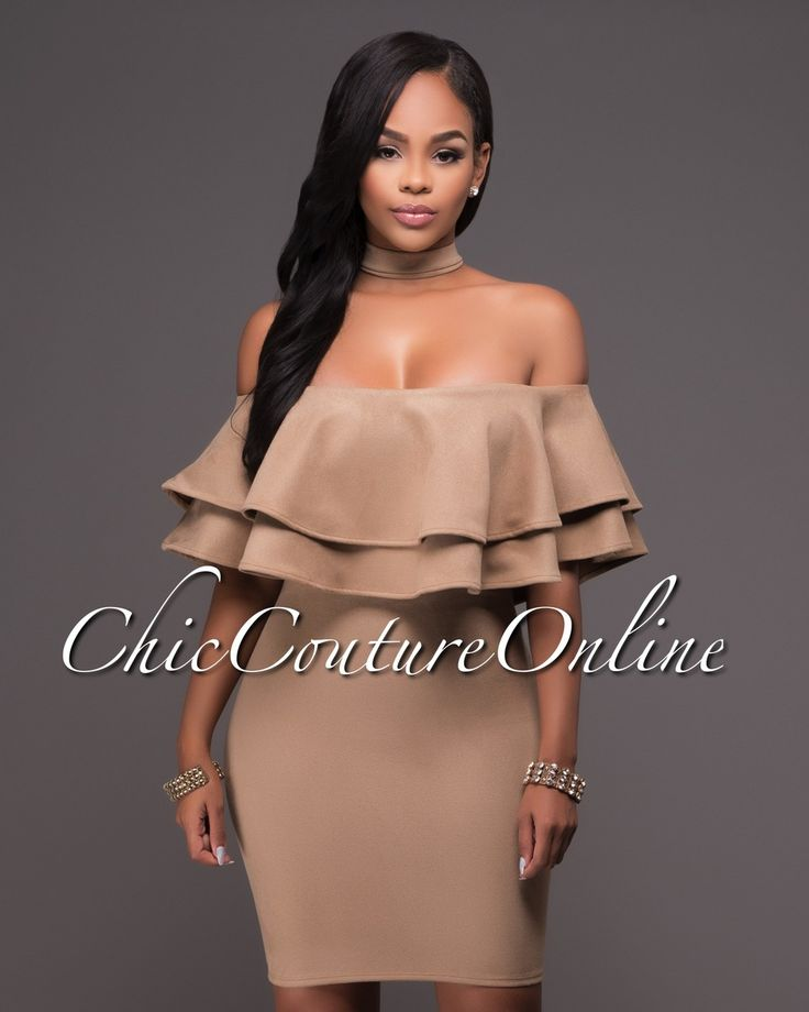 Chic Couture Online - Matilda Nude Faux Suede Off-The-Shoulder Ruffle Choker Dress.(http://www.chiccoutureonline.com/matilda-nude-faux-suede-off-the-shoulder-ruffle-choker-dress/)