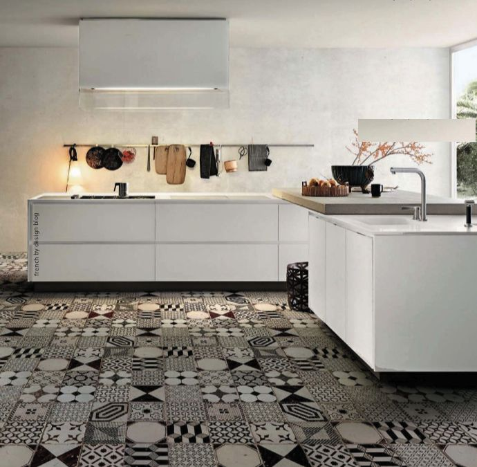 Cement Tiles, Home Interiors, Pattern, Floors, Interiors Design Kitchens, Black And White, Kitchens Tile, Black White, White Kitchens