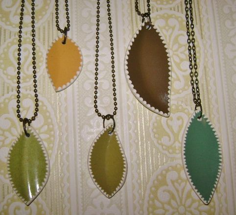 notched leaf pendants made from old plates.