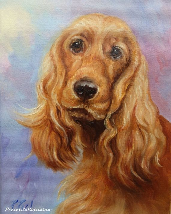 Golden Cocker Spaniel DOG PORTRAIT Original Oil PAINTING on canvas, Miniature Framed Art, Hand painted Dog Artwork, Pet portrait, Animal Art    #dog #portrait @animalart #goldencocker