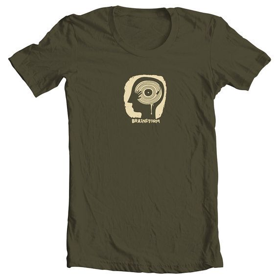 Brainstorm T-Shirt Light Beige on Khaki Vinyl by ClothMothTshirts