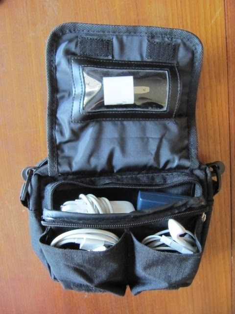 electronic charger organization when traveling. Use eyeglass case for purse storage.